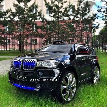 Электромобиль BMW X5 F15 белый (колеса резина, кресло кожа, пульт, музыка, усиленный аккумулятор)